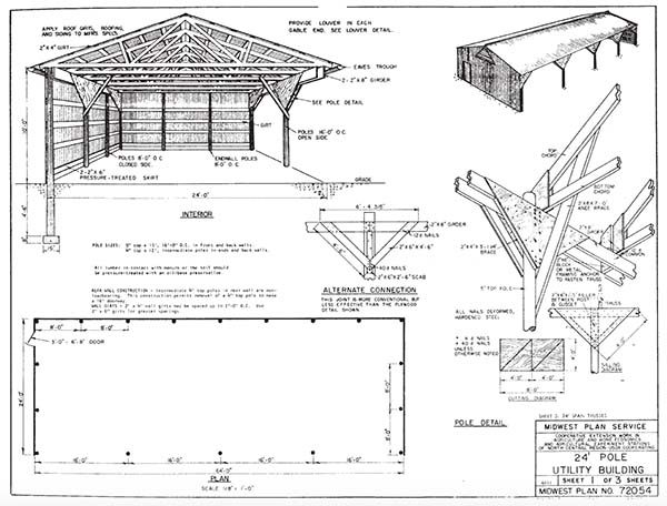 153 pole barn plans and designs that you can actually build for Barn blueprints free plans