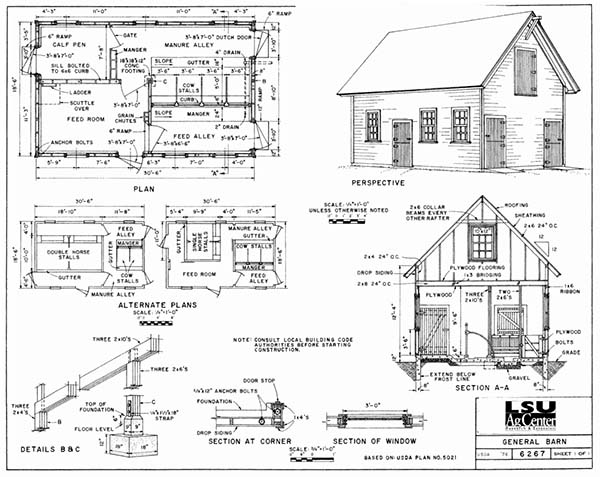 lsu agcenter has 38 free barn plans for any purpose and size, from  livestock shelter, storage, and utility barn