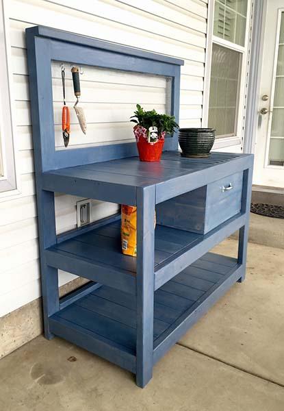 The Little Blue Potting Bench