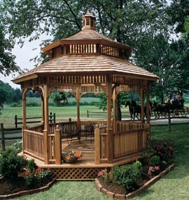 This Gazebo Is A Beautiful Masterpiece It Has Tiered Ceiling Where The Sunlight Can Trickle In And Also Lots Of Seating Available Too