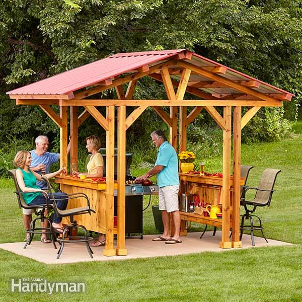 22 free diy gazebo plans ideas to build with step by step tutorials i love the look of this grillzebo it is an awesome idea and something id like to see out in my own yard you can use it for your grill or as solutioingenieria Choice Image