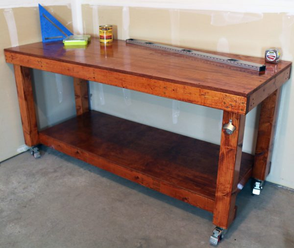 this workbench looks amazing it is a stand alone workbench that would be great to go in a shed or garage and it appears to have ample workspace too - How To Build A Garage Workbench
