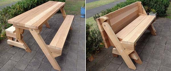 Free DIY Picnic Table Plans For Kids And Adults - Picnic table with backrest