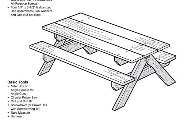 Free DIY Picnic Table Plans For Kids And Adults - Square picnic table with benches