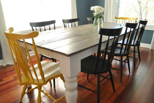 i need this table in my life im being serious it holds up to 8 people and is beautiful to boot - Farmhouse Kitchen Table