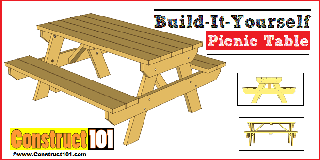 50 free diy picnic table plans for kids and adults if you are a fan of the classic picnic table then youll want to check this one out it is the basic table with attached benches but it has great plans solutioingenieria Image collections