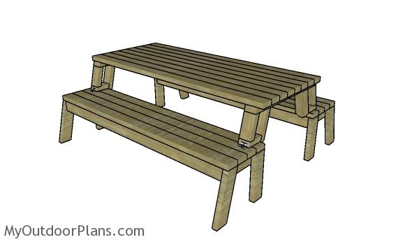 50 free diy picnic table plans for kids and adults having a picnic table when you need one is great but not everyone has the space or even the desire to have a picnic table sitting around all of the time ccuart Choice Image