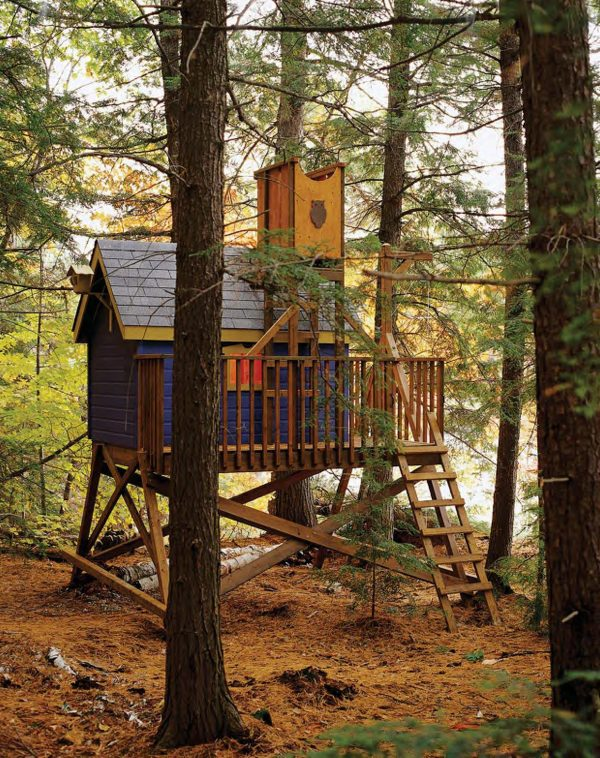 tree house designs. this tree house is absolutely adorable. with its pop of color you could easily place it in a wooded area yet would still stand out. designs