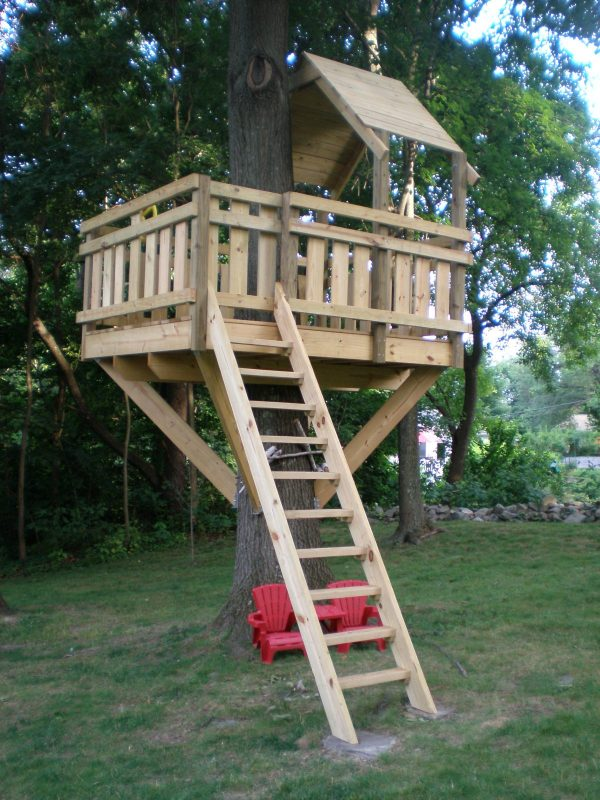 30 diy tree house plans design ideas for adult and kids for Free treehouse plans