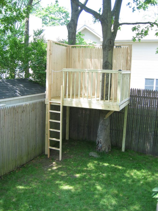 This Little Tree Fort Looks As Though It Has A Picket Fence Or A Privacy  Type Fence All Around The Sides And The Back Side Of It.