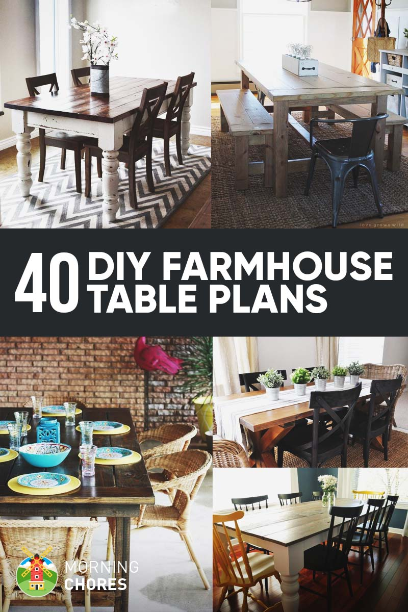 40 Free DIY Farmhouse Table Plans and