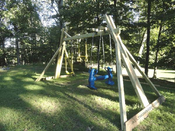 34 free diy swing set plans for your kids 39 fun backyard for How to build a swing set for adults