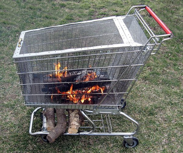 This Fire Pit Is Great It Takes Upcycling To A Whole New Level They Take An Old Ping Cart And Turn Into That Can Be Moved Anywhere You