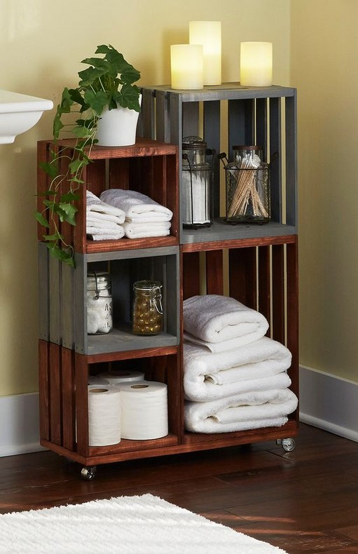 Bathroom Ideas Recycle Crate Cabinet