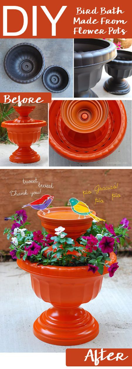 30 adorable diy bird bath ideas that are easy and fun to build 22 the flower pot bird bath solutioingenieria Gallery