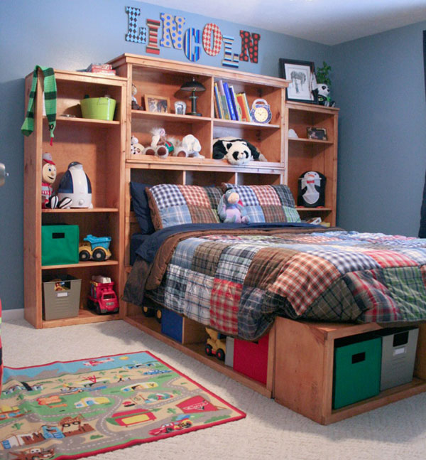 8 twin storage headboard base plans we live in a - Build Your Own Bookshelves