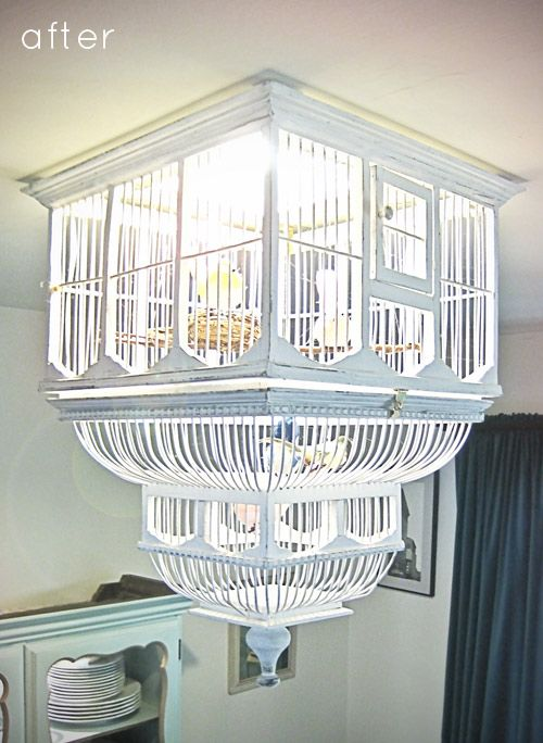 34 beautiful diy chandelier ideas that will light up your home this birdcage chandelier is really awesome they hung it upside down and made it look like a birdcage that was actually in use aloadofball Choice Image