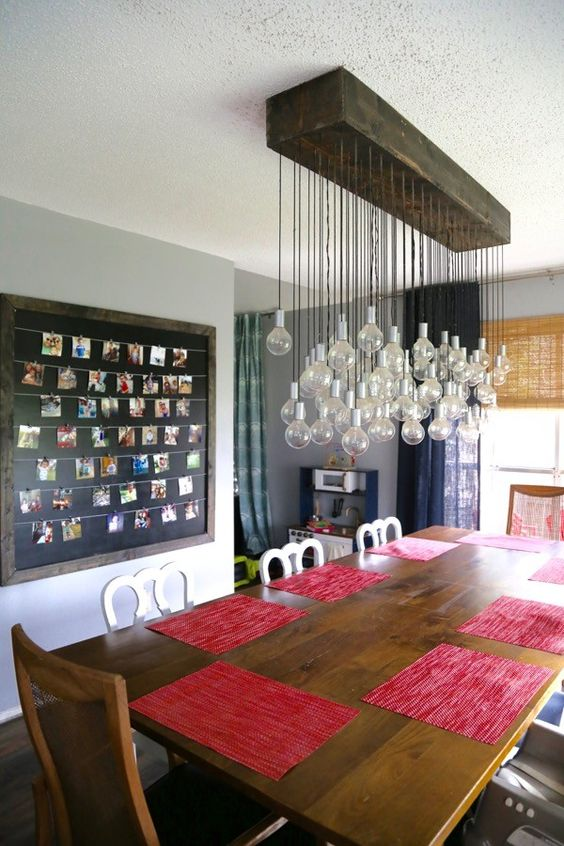 34 beautiful diy chandelier ideas that will light up your home diy bulb chandelier mozeypictures Image collections