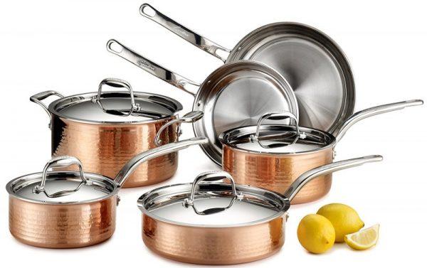 Lagostina Q554SA64 Martellata Tri-ply Hammered Copper 10-piece Cookware Set