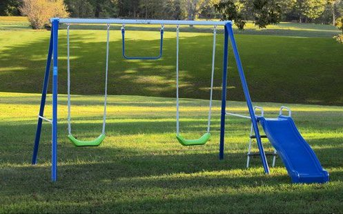 Flexible Flyer Metal Swing Set with Slide