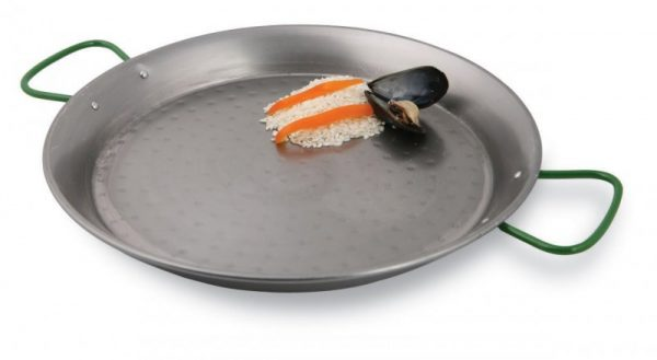 Paderno World Cuisine 35.1:2 Inch Polished Carbon Steel Paella Pan