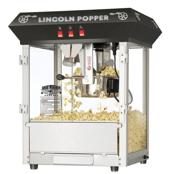 Great Northern Popcorn Black Bar Style Lincoln Antique Popcorn Machine