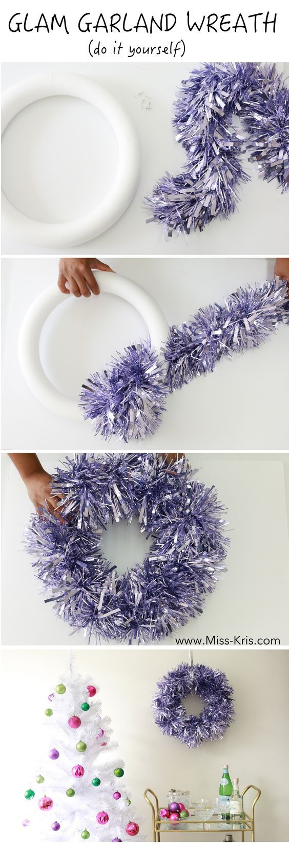 diy glam garland wreath