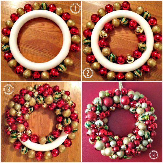 33 gorgeous diy christmas wreath ideas to decorate your holiday season diy ornament wreath solutioingenieria Gallery
