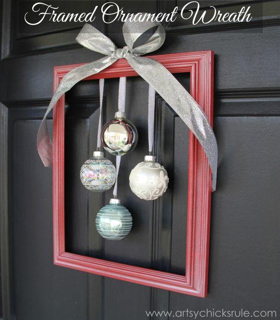 33 gorgeous diy christmas wreath ideas to decorate your holiday season the framed ornament wreath solutioingenieria Choice Image