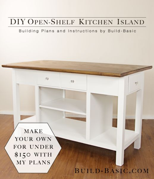 Diy Kitchen Island Throughout The Open Shelf Kitchen Island 25 Gorgeous Diy Islands To Make Your Run Smoothly