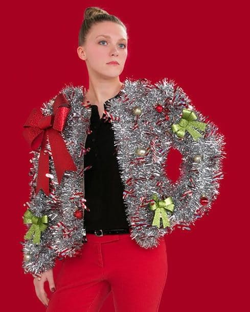 ugly christmas sweater ideas 1 gaudy garland sweater - How To Decorate A Ugly Christmas Sweater
