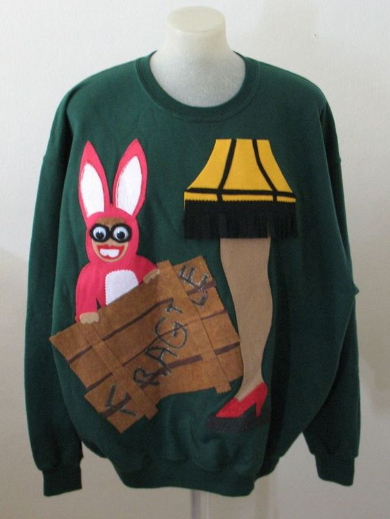 this is another really cute ugly sweater idea it is based on a christmas story which is another one of my favorite christmas movies