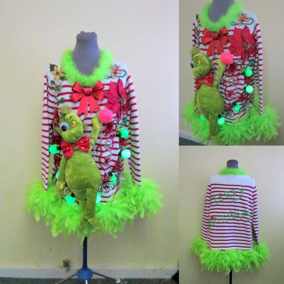 3d grinch ugly sweater - Grinch Ugly Christmas Sweater