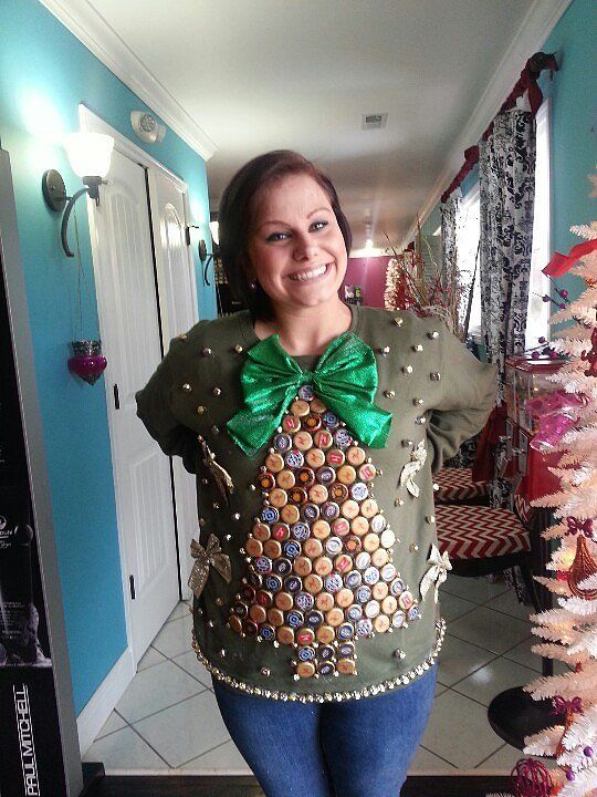 51 ugly christmas sweater ideas so you can be gaudy and festive the bottle cap christmas sweater solutioingenieria Images