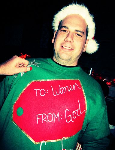 Ugly christmas jumpers - god's gift