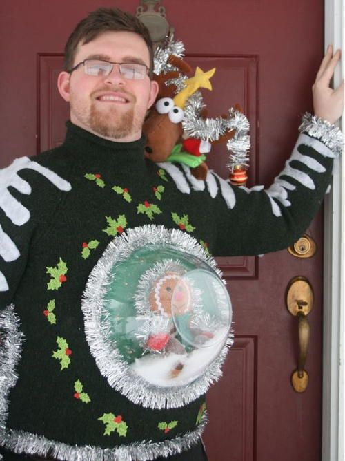 Snow Globe DIY Ugly Sweater - 51 Ugly Christmas Sweater Ideas So You Can Be Gaudy And Festive