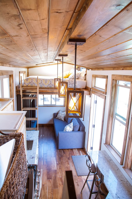 The Teton Home By Alpine Tiny Homes Features Full Sized Appliances  Including A Washer And Dryer, Two Lofts, And A Pullout Couch In Order To  Sleep Six.