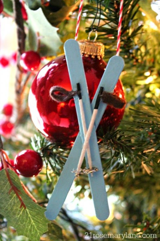 miniature skis with poles - Ski Christmas Decorations