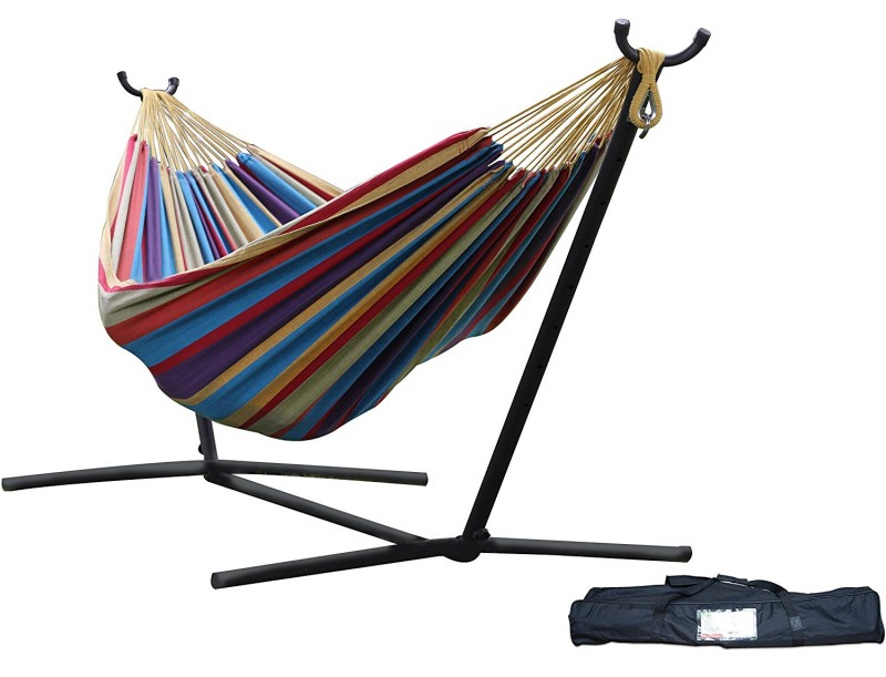 Vivere Tropical Double Hammock with Space-Saving Steel Stand
