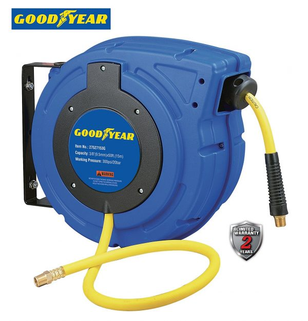 Goodyear Enclosed Retractable Air Compressor/Water Hose Reel