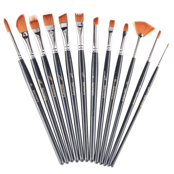Heartybay Paint Watercolor Oil Painting (black 12pcs) Brush Set