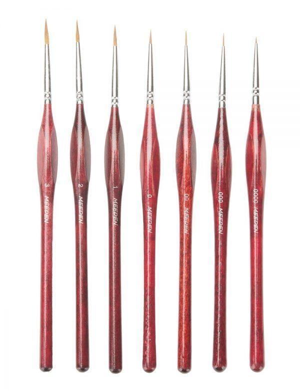 MEEDEN Professional Sable Hair Detail Paint 7 Brush Set