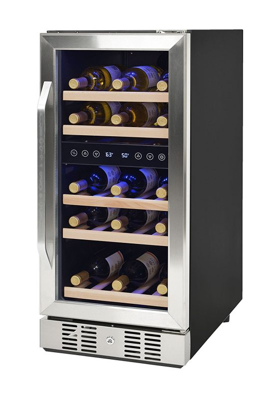 Newair Compact 15 Inch 29 Bottle Dual Zone Compressor Wine Cooler