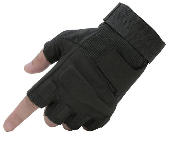 Seibertron Mens Black S.o.l.a.g. Special Ops 1:2 Finger Light Assault Gloves Tactical Fingerless Half Finger Gloves