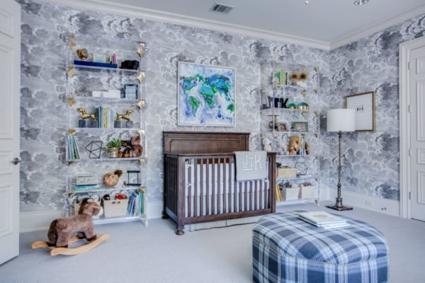 Loving The Wallpaper In This Beautiful Boys Nursery Room Lots Of Shelf E Is A Huge Plus Too
