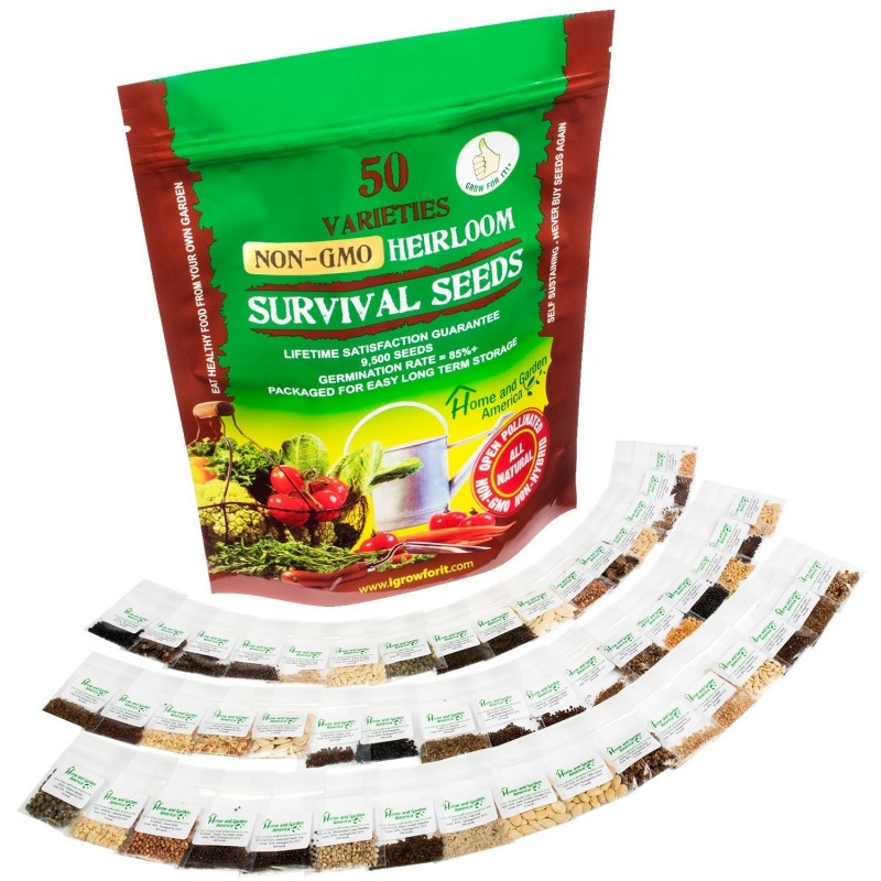 Grow For It Heirloom Vegetable Seeds Survival Seed Kit