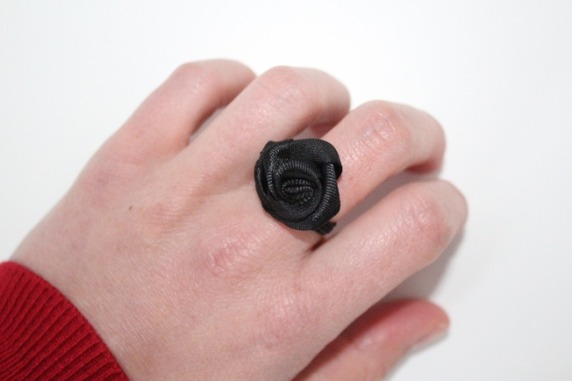 Sew on flower to fabric ring