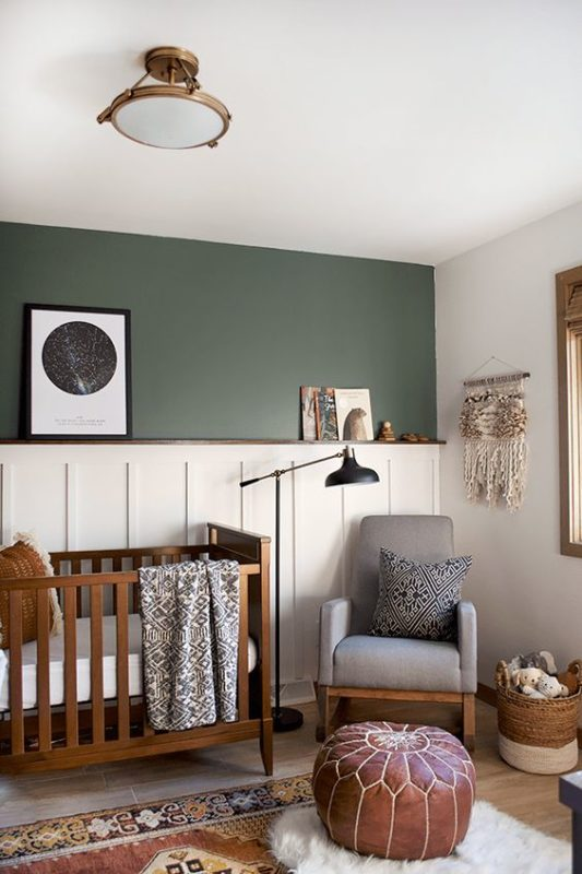 A Very Welcoming Feeling To This Natural Toned Room The Dark Hunter Green Makes For Wonderful Baby Boy Nursery Color