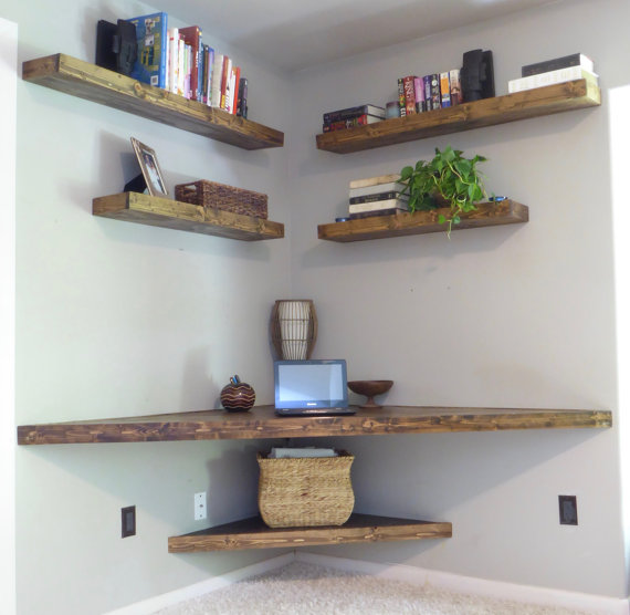 Combine Your Floating Corner Shelves With A Beautiful Desk Useful Design