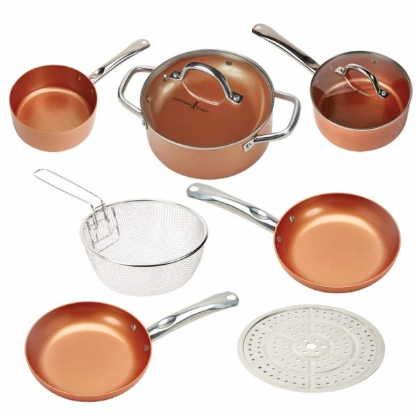Copper Chef Cookware 9-Piece Round Pan Copper Cookware Set